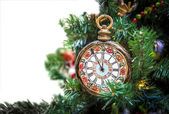 Christmas tree decoration with clocks — Stock Photo