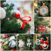 Christmas tree decoration collage — Stockfoto