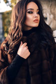 Portrait of sexy beautiful woman with dark hair in luxurious fur coat — Stockfoto