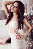 gorgeous woman with dark hair  in elegant lace dress  — Stock Photo