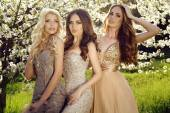 Charming girls in luxurious sequin dresses posing in blossom garden  — Stock Photo