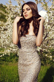 Beautiful charming woman in luxurious sequin dress   — Stock Photo
