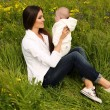 Beautiful mother having fun with her little cute baby in summer garden — Stock Photo #73414361