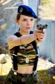 Girl in uniform — Stock Photo