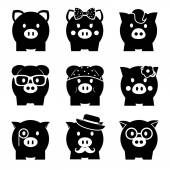 Piggy bank icon set, front view — Stock Vector