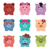 Colorful piggy bank icon set, front view — Stock Vector