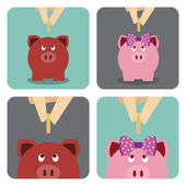 Hand putting a coin into young piggy bank — Stockvektor