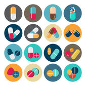 Colorful pills and capsules icon — Stock Vector