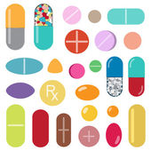 Colorful pills and capsules — Stock Vector