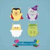 Set of cute cat in Halloween costumes — Vector de stock