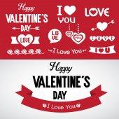 Valentine 's day typography elements — Stock Vector