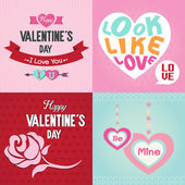 Valentines day cards with ornaments, rose, hearts, ribbon and arrow — Stock Vector