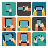 Hand using mobile phone and tablet pc — Vector de stock