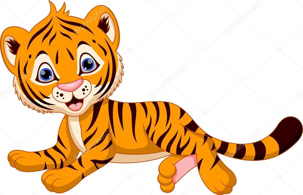 Cartone animato tigre — vettoriale stock