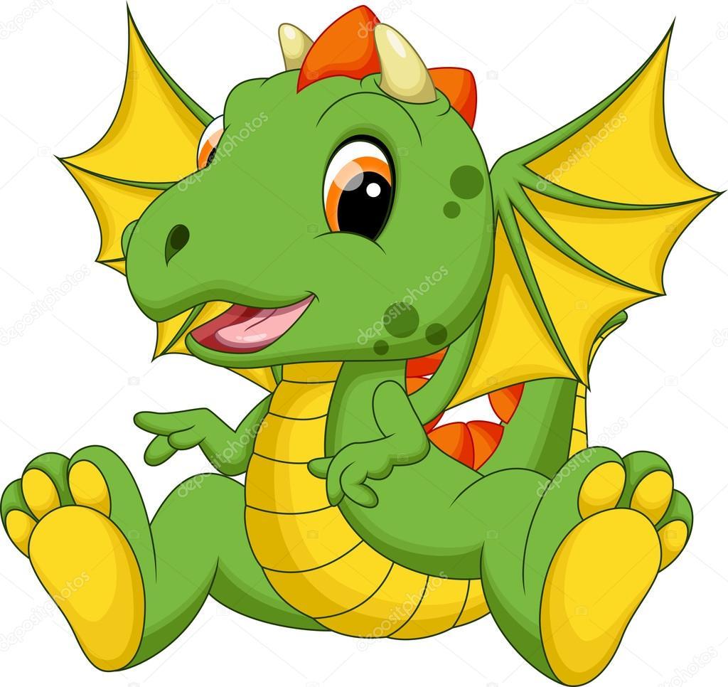 Caricatura Lindo Bebé Dragón
