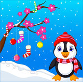 Cute penguin cartoon — Stock Vector