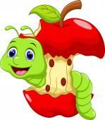 Cute worm cartoon — Vetor de Stock