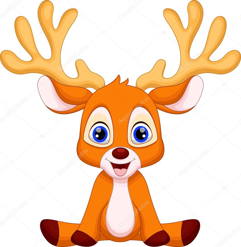 Baby Boy Moose Clipart 可爱鹿卡通 — �...