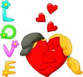 Απεικόνιση των δυο καρδιές στην αγάπη — Διανυσματικό Αρχείο