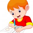 Little boy drawing on a piece of paper — Stock Vector #71437781