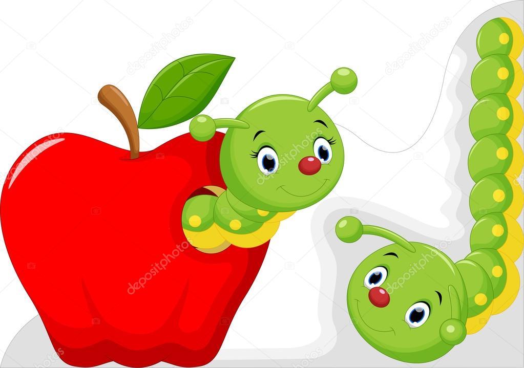 Divertidos Dibujos Animados De Gusano En La Manzana