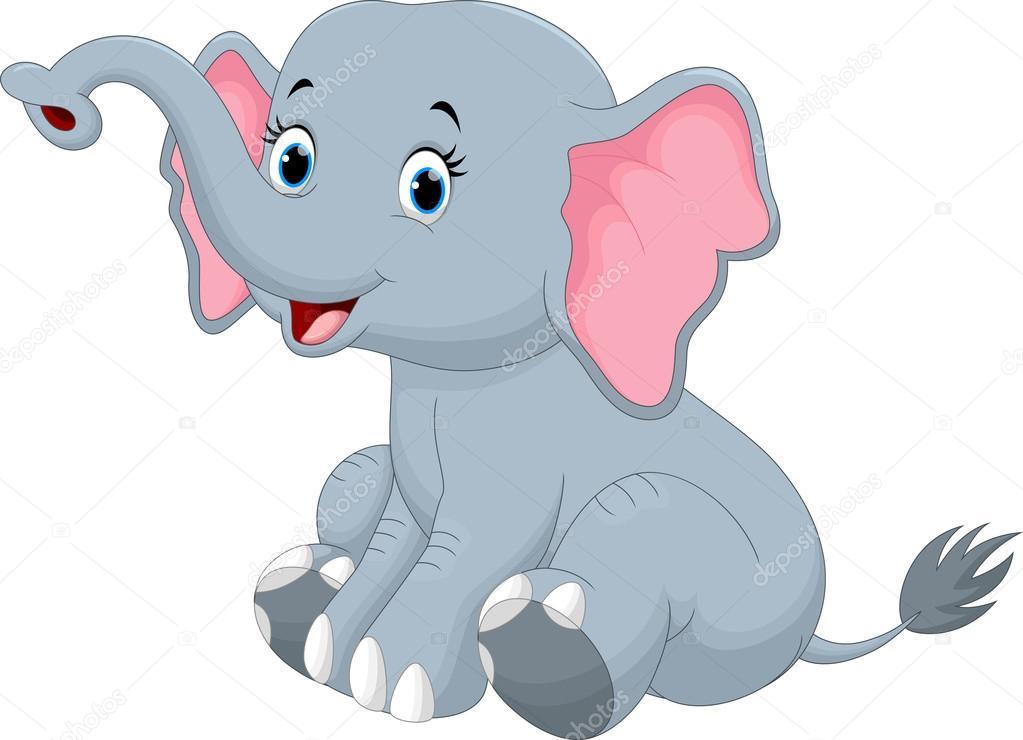 Caricatura lindo elefante sentado — vector de stock