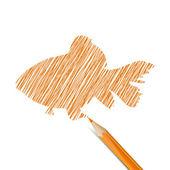 Fisk med penna — Stockvektor