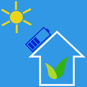 Eco house with solar battery — Stock Vector
