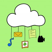 Cloud computing in doodle style — Stockvektor