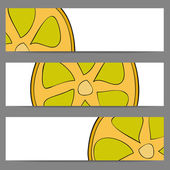Set of banners with doodle lemon — 图库矢量图片