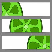Set of banners with doodle lime — 图库矢量图片