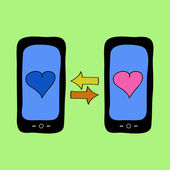 Doodle style phones with love talk — Vector de stock