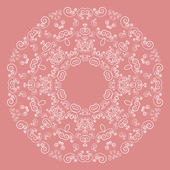 Round lacy pattern on pink background — Stock Vector