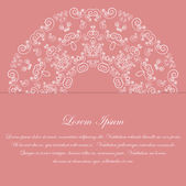 Pink card design with ornate pattern — Stock Vector