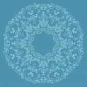 Round lacy pattern on blue background — Stock Vector