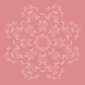 Ornate flower pattern on pink background — Stock Vector