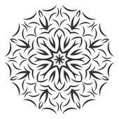 Round black flower pattern on white background — Stock Vector