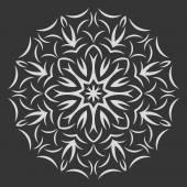 Round white  flower pattern on black background — Cтоковый вектор