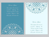 Blue and white flyers with ornate flower pattern — Stock Vector