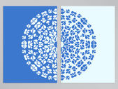 Blue and white flyer design with round pattern — Stock Vector