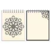 White cover notebook with handmade black pattern — Vector de stock