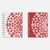 Two red and white notebook covers design — Stock Vector