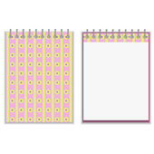 Floral style pink and yellow notebook cover design — Stock Vector