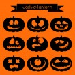 Jack-o-lantern. Set of 9 decorative elements — Stock Vector #54535863
