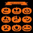 Halloween pumpkin with scary faces — Stock vektor #54535903
