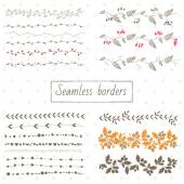 Collection of decorative seamless borders — Stock Vector