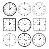 Set of 9 digital clock — Stock Vector