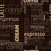 Coffee words, tags. Seamless pattern — 图库矢量图片