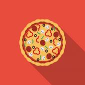 Flat pizza. Vector icon with long shadow — Vecteur
