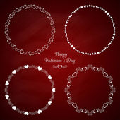 Set of 4 circle cute frames for the St. Valentines Day — Stock Vector